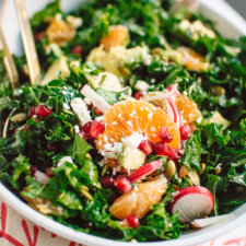 Kale, Clementine and Feta Salad with Honey-Lime Dressing